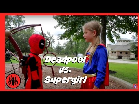 Thumbnail: Little Heroes Kid Deadpool Vs Supergirl Real Life Superhero Battle | Nerf Fight Super Hero Kids