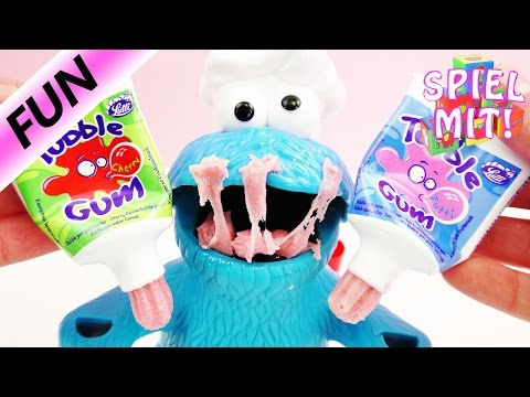 funny-tube-gum-test-mit-play-doh-krümelmonster-deutsch---kaugummi-aus-der-zahnpastatube?