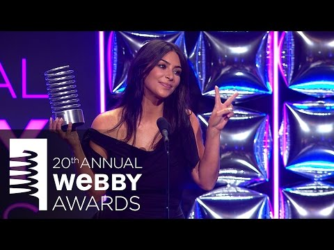 Kara Swisher presents to Kim Kardashian West at The 20th Annual Webby Awards