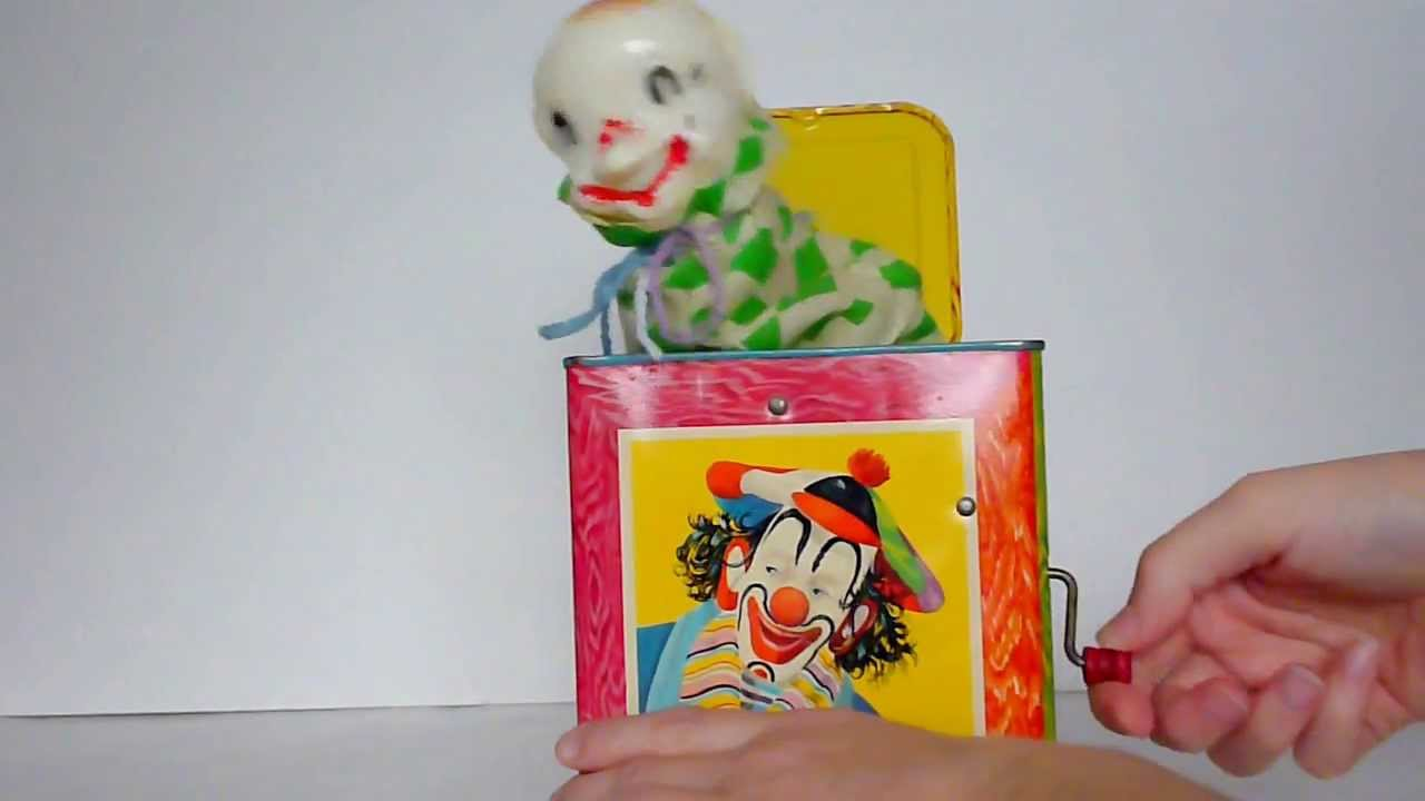 jack in the box toy. vintage 50\u0027s mattel jack in the box metal toy demo 1953 plays \