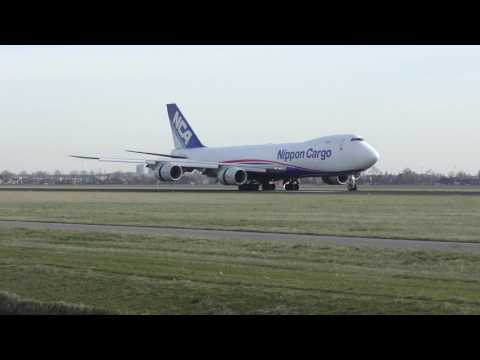 Plane Spotting at Schiphol -- 4k UHD -- 12 March 2017  -- Planes landing Polderbaan --