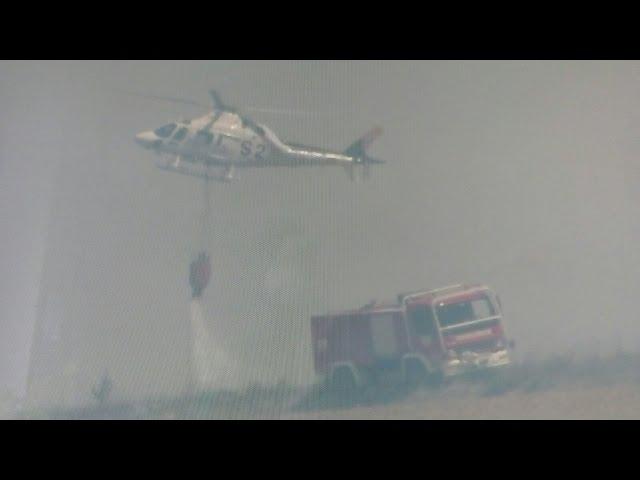 Servicios de extinción en el incendio de Cabrerizos