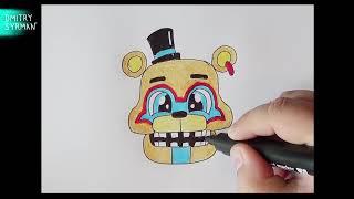 How To Draw Cute Glamrock Freddy, FNAF, Как нарисовать Милого Глэмрок Фредди, ФНАФ