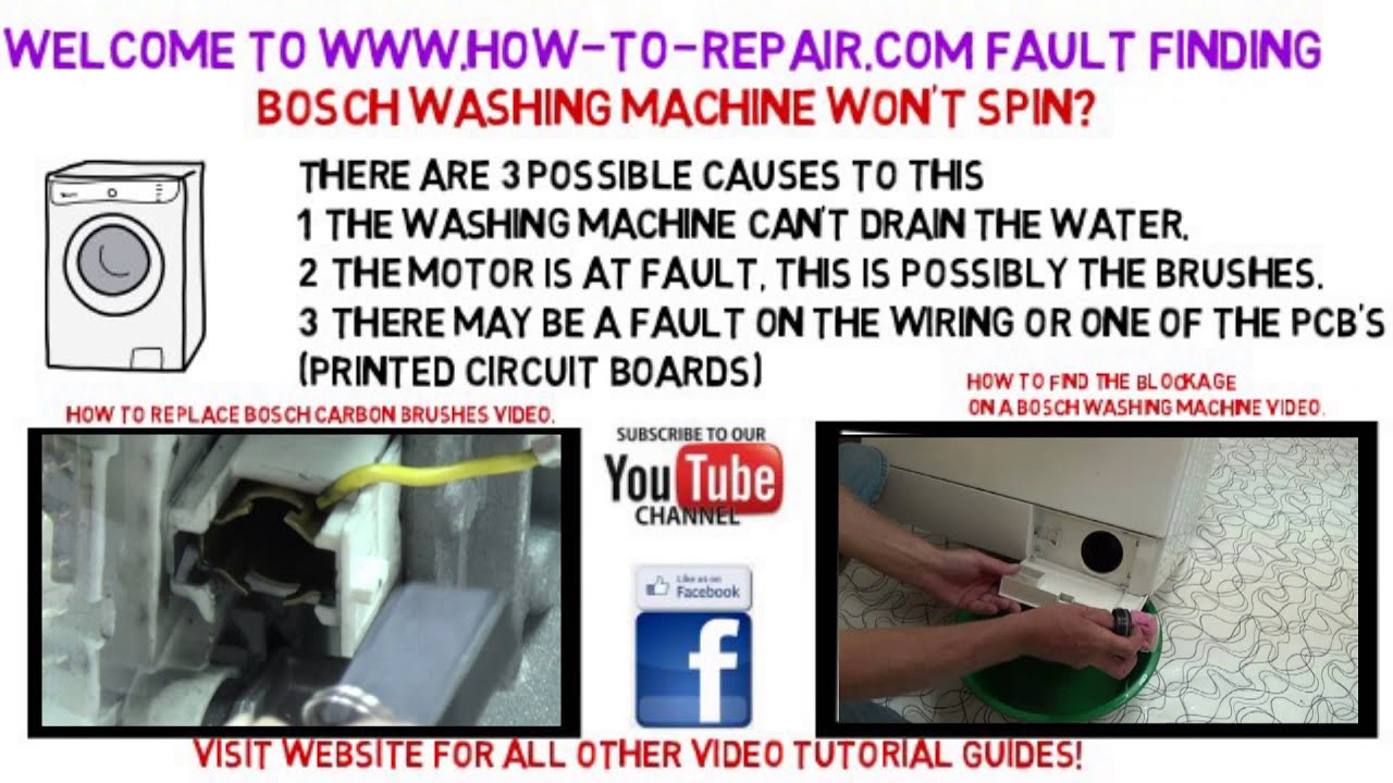 Bosch Washing Machine Will Not Spin Fault Finding Guide Youtube Heat Transfer Homemade Circuit Board