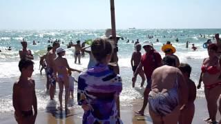 веселый негр на пляже