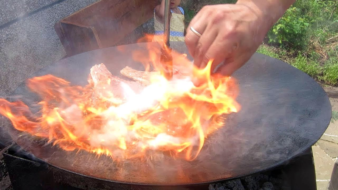 Садж на Мангале Мясо с Овощами на Сковороде!!! Сковорода из диска