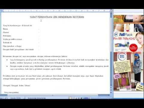 Video Surat Pernyataan Izin Mendirikan Restoran