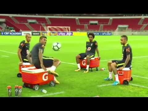 Neymar destroys Marcelo and Thiago Silva with a little help from Dani Alves in Brazil training