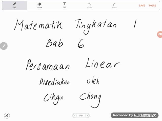 Bab 6 Part 1 Matematik Tingkatan 1 Persamaan Linear Youtube