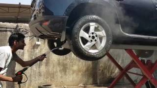 Car washing setup with pressure lift compressor www.autooneindia.com