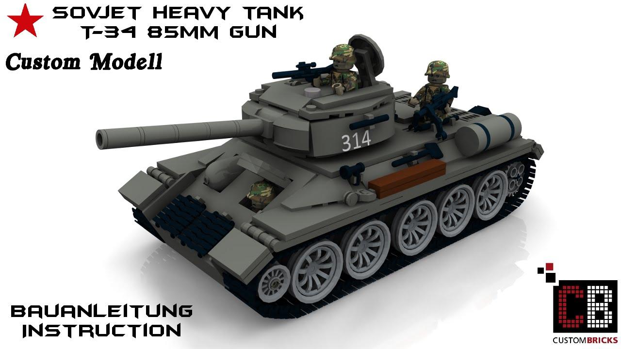Custom WW2 WWII Sovjet haevy Panzer Tank T-34/85 aus LEGO .
