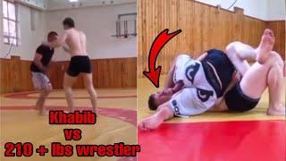 Unseen Video of Khabib Wrestling Huge 210+ lbs Wrestler 😮