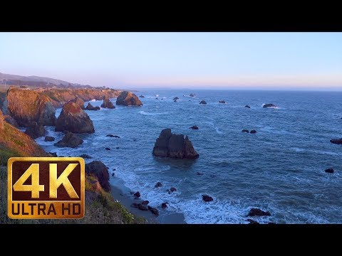 4K Ocean Beach Relaxation - Calm Ocean Waves | Sonoma Coast State Park, CA. Part 5 - 4 HRS
