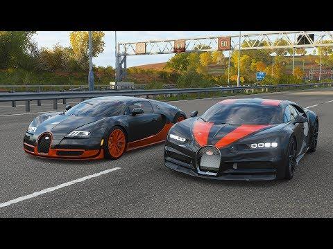 Forza Horizon 4 Drag race: Bugatti Chiron SS 300+ (Replica) vs Bugatti Veyron SS