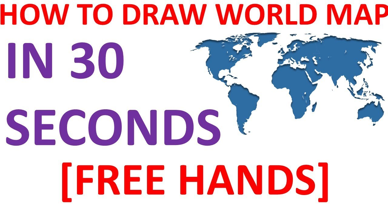 HOW TO DRAW WORLD MAP IN 30 SECONDS|| FREE HAND BY PEN|| WORLD MAP FOR EXAM  PURPOSE