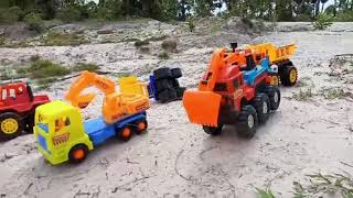 Car toys for Kids and toys for Children trucks and Excavator failed the road
