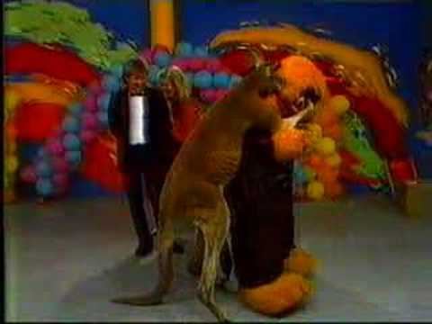 Marty Monster and Rags the kangaroo on The Early Bird Show