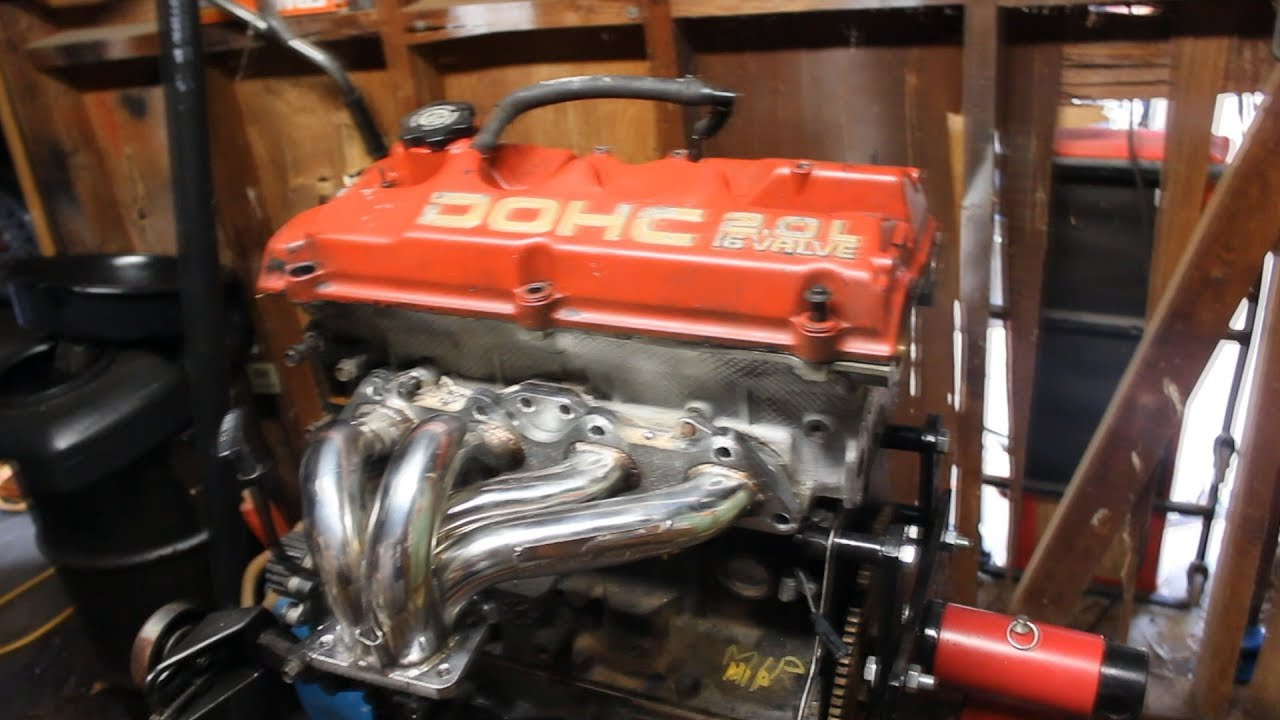 Test fitting a 4g63 turbo manifold on my 420a