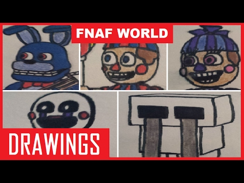 Bonnie, Marionette, Balloon Boy, JJ, and Crying Child | FNAF World Drawings