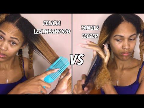 FELICIA LEATHERWOOD VS TANGLE TEEZER   LESS SHEDDING/BREAKAGE
