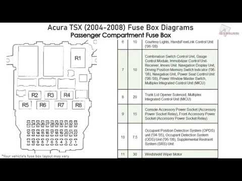 [SCHEMATICS_48YU]  Acura TSX (2004-2008) Fuse Box Diagrams - YouTube | 2007 Tsx Fuse Box |  | YouTube