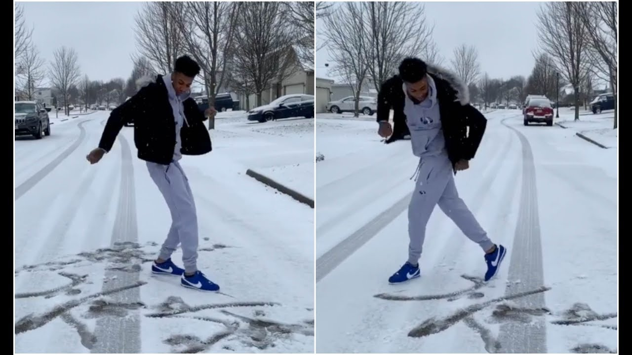 Download Blueface Draws His Name By Crip Walking In The Snow