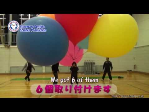 【Exp.4】FLYING WITH GIANT HELIUM BALLOONS /science experiments/Yonemura Denjiro science production