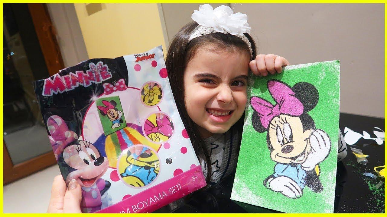 Minnie Mouse Kum Boyama Seti Açıyoruz Rüya Ile Kum Boyama Yapıyoruz