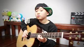 Likey - Twice (트와이스) (fingerstyle guitar arranged & cover by 10-year-old kid Sean Song)