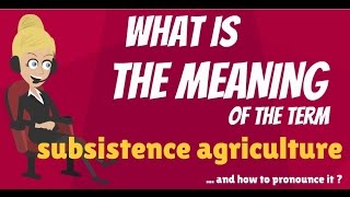 What is SUBSISTENCE AGRICULTURE? What does SUBSISTENCE AGRICULTURE mean?