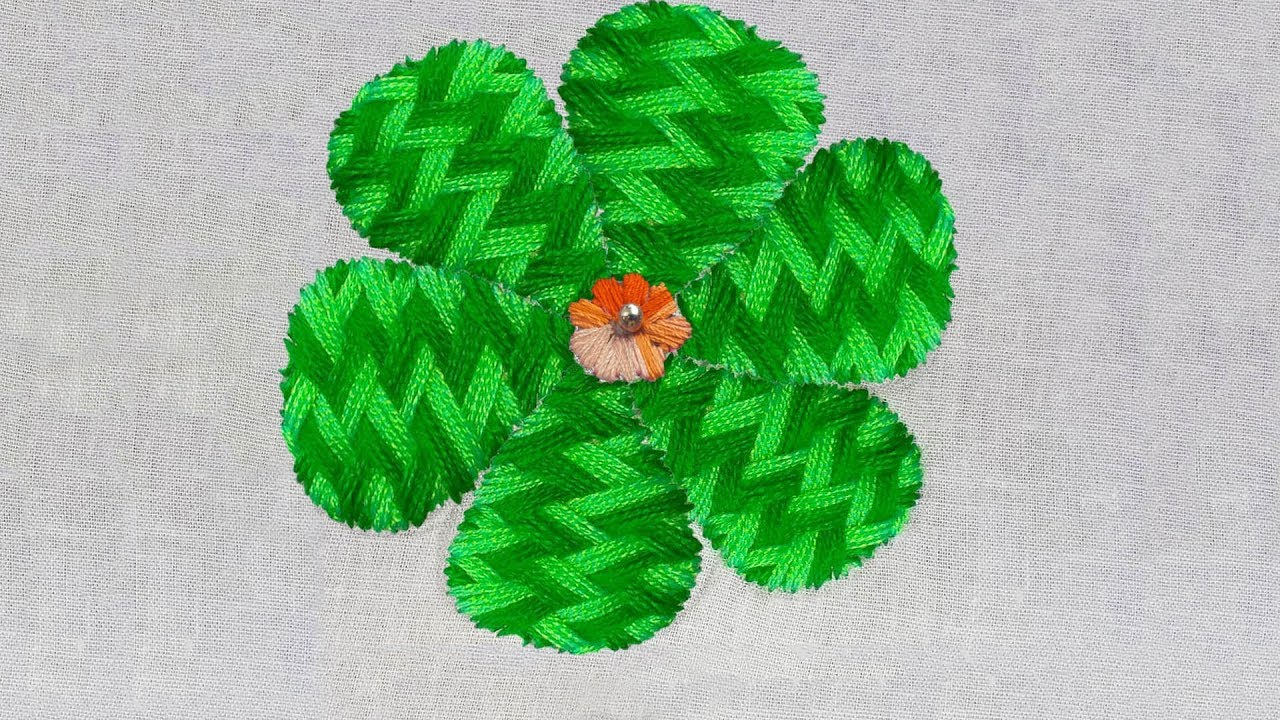 Hand embroidery amazing checked stitch flower design