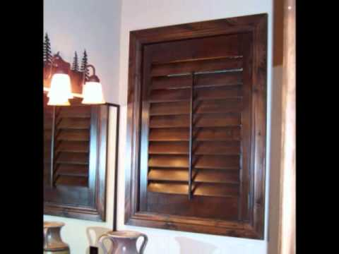 Centennial Shutters in Knotty Alder by New View Blinds and Shutters