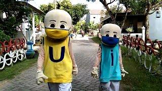 Bukan Karnaval, Cari Perhatian Banyak Orang Upin \u0026 Ipin Badut Mengajak Pakai Masker Keliling Kampung