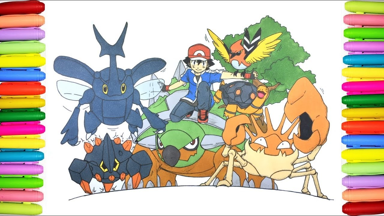 Pokemon Coloring Pages Coloring Ash Pokemon Youtube