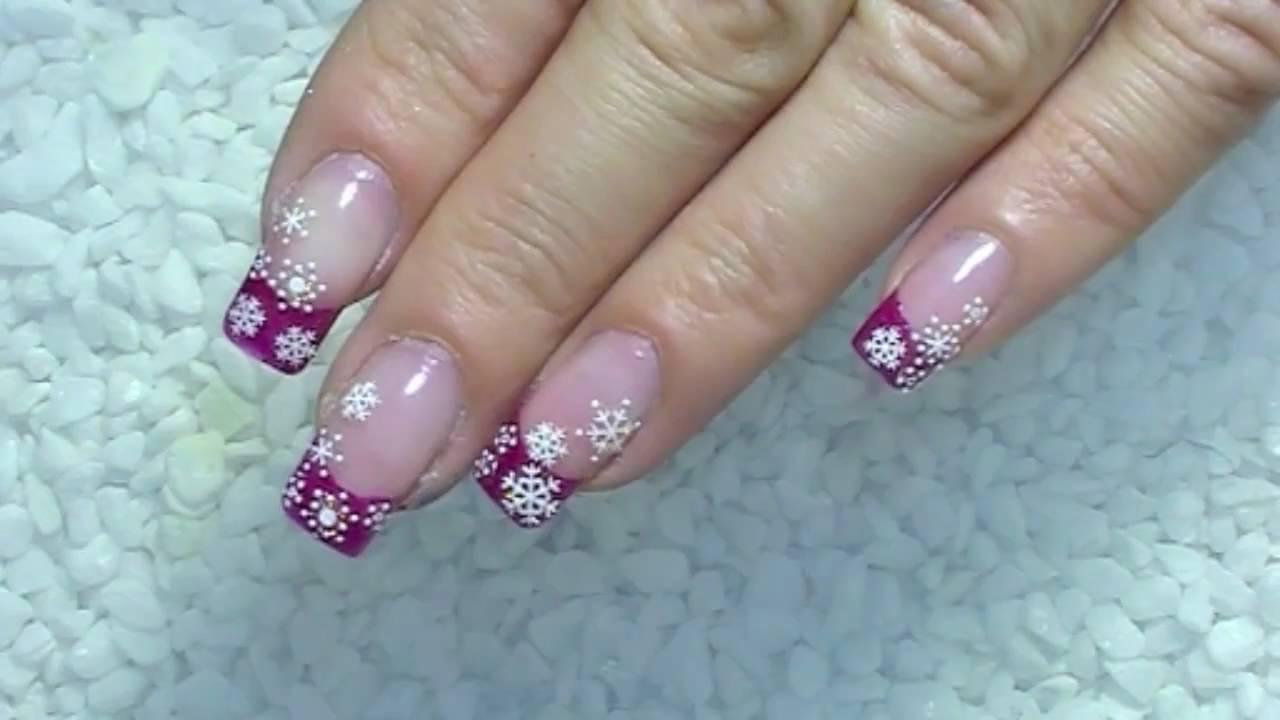 pink christmas nail art design
