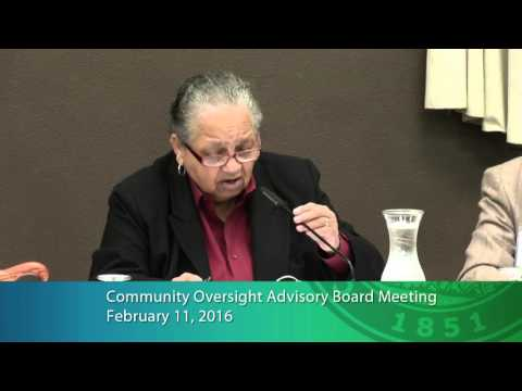 Community Oversight Advisory Board Meeting, February 11, 2016
