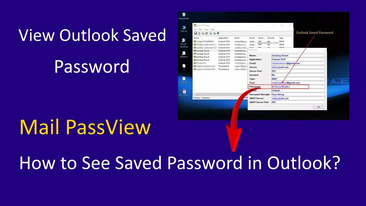 View Outlook Password by using Mail PassView - Password Recovery Tool