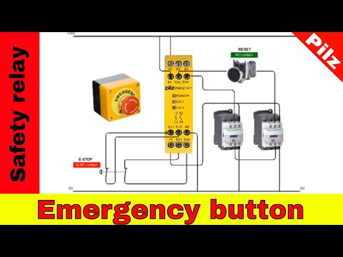 Wiring safety relay Pilz PNOZ and emergency stop button.