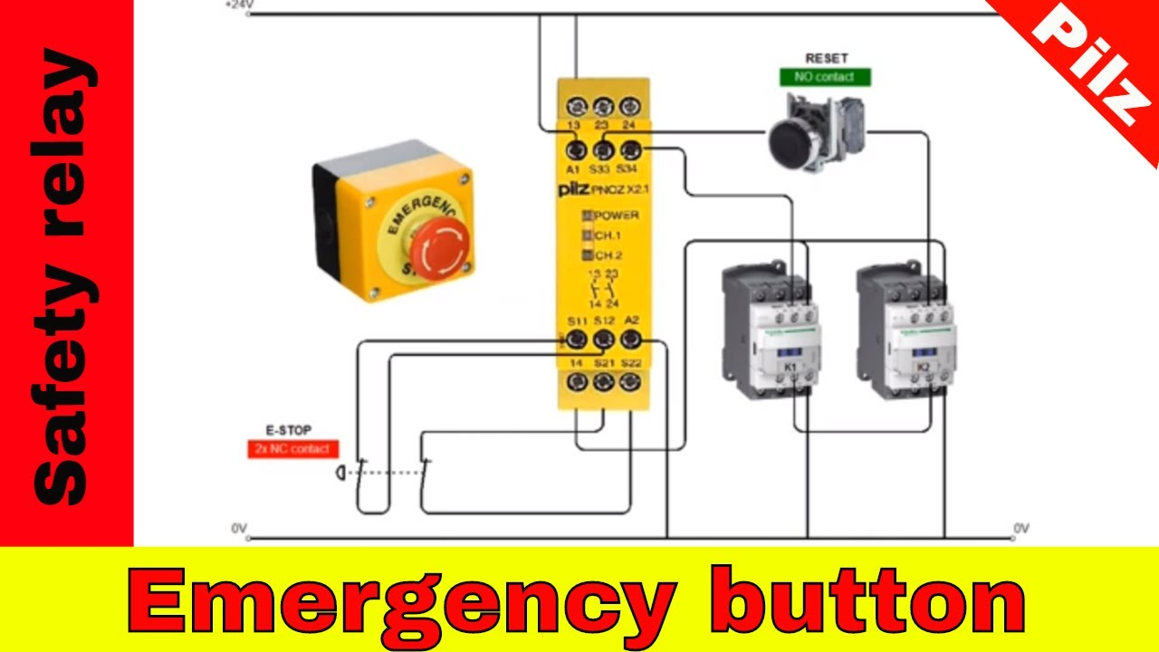 Wiring Safety Relay Pilz Pnoz And Emergency Stop Button Youtube