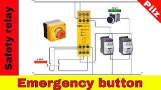 Wiring safety relay Pilz PNOZ and emergency button.