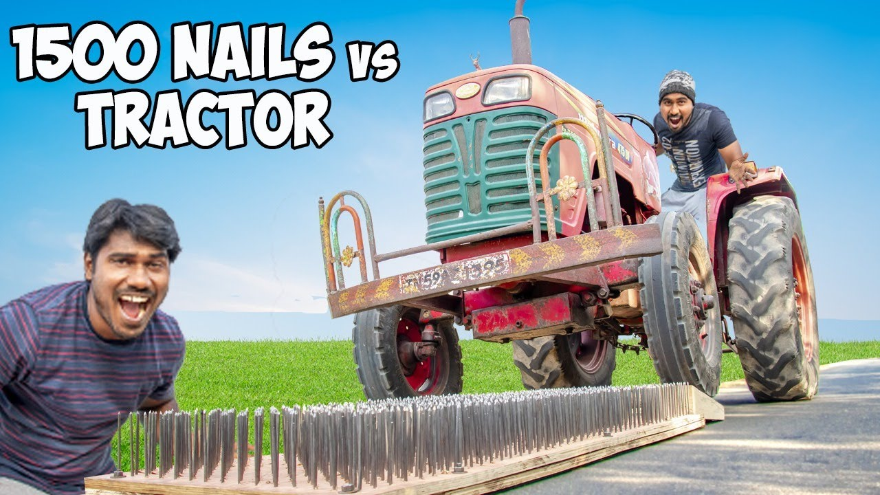 1500 Nails Vs Giant Tractor | Which Will Survive?