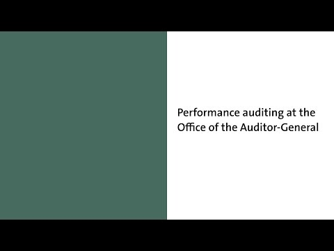 Performance auditing at the Office of the Auditor-General