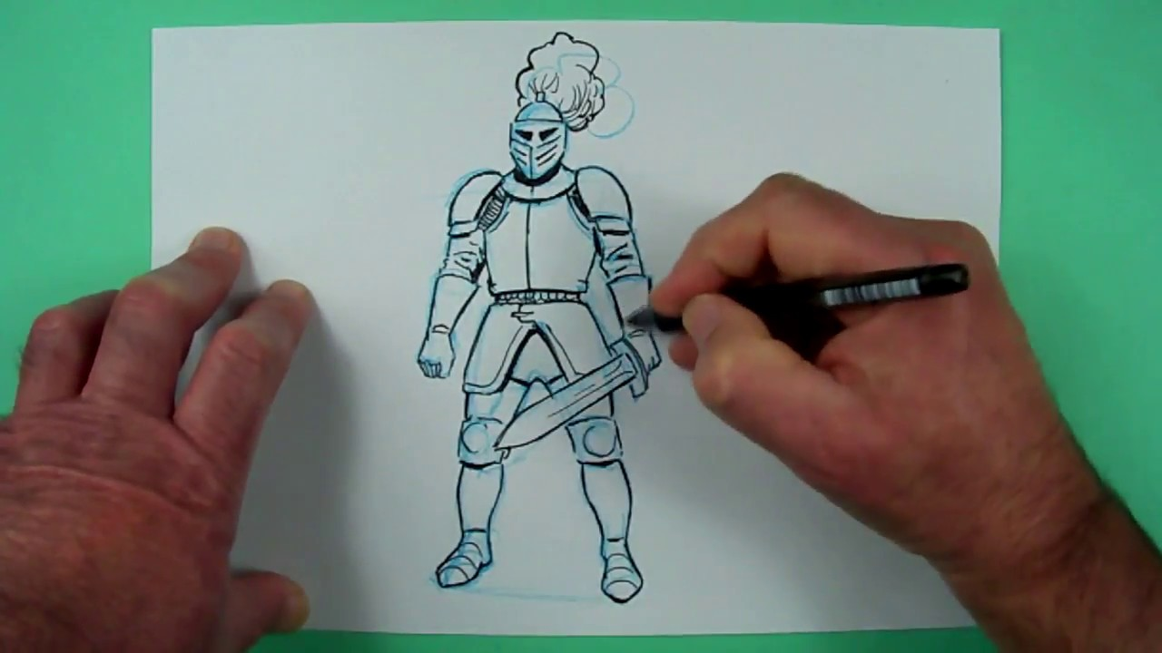 Wie zeichnet man einen Ritter ? Zeichnen für Kinder - YouTube