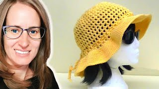 Repeat youtube video Mesh Sun Hat Crochet Tutorial