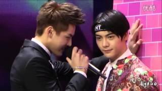 150315 Wu Yi Fan and William Chan playing 'Bi dong' game - Happy Camp recording 2015 [74]