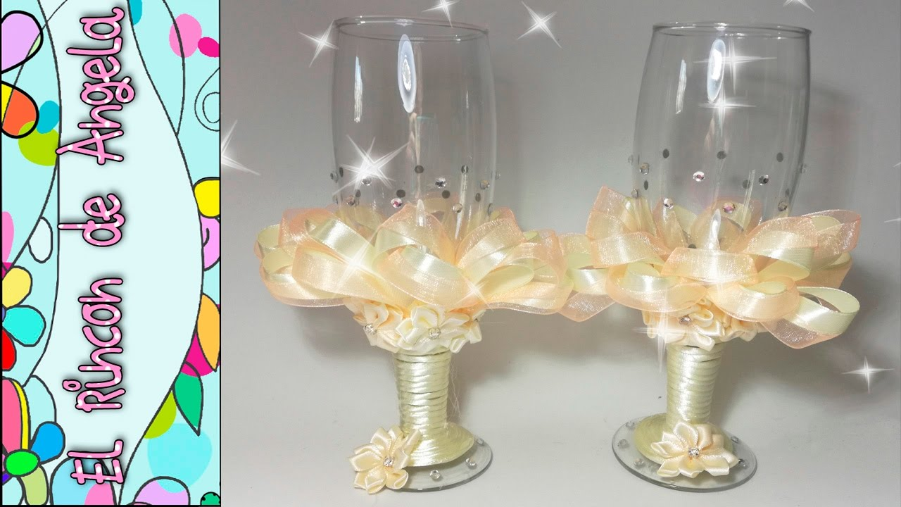Como decorar copas de novios de bodas nupciales san - Como decorar copas para boda ...