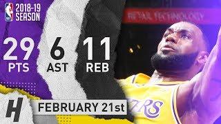 LeBron James Full Highlights Lakers vs Rockets 2019.02.21 - 29 Pts, 11 Reb, 6 Ast!