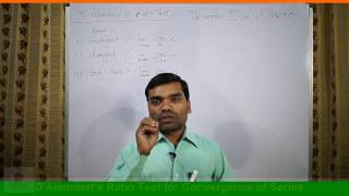 Infinite Series(Part-IV) D'Alembert's Ratio Test of Convergence in Hindi