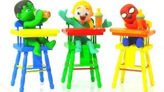 KIDS HAVING HEALTHY LUNCH ❤ SUPERHERO PLAY DOH CARTOONS FOR KIDS