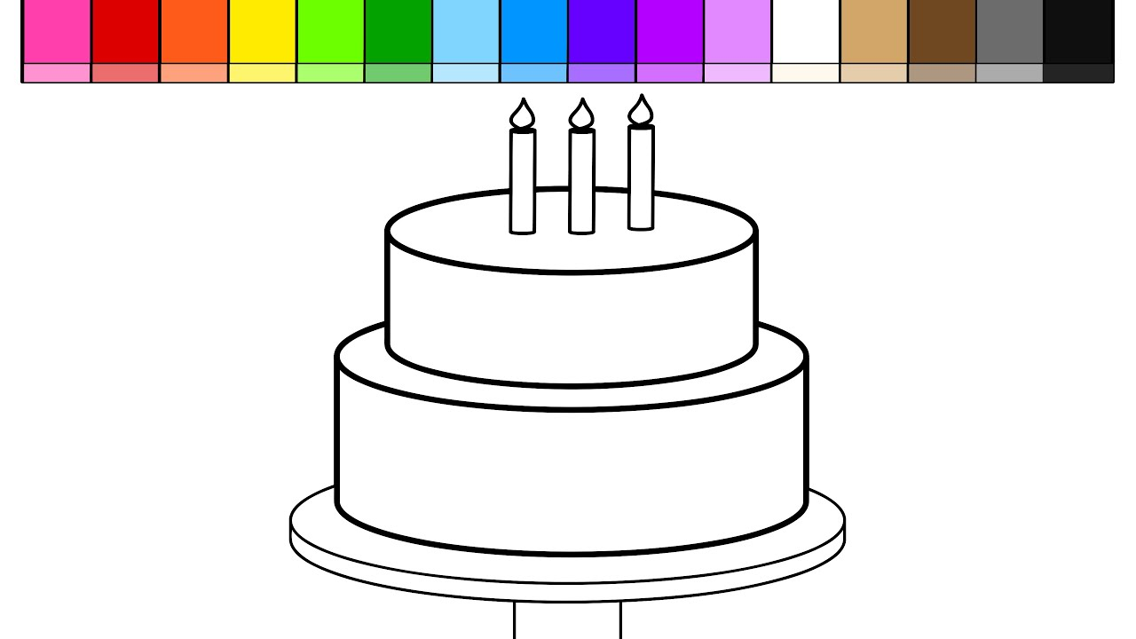 learn colors for kids and color draw birthday cake coloring page